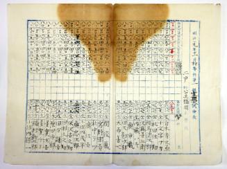 明治時代の試験の点数が書かれた一覧表。左から6番目に国分謙吉の名前がある