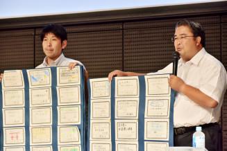 新聞記事をヒントにした児童の卒業研究のテーマを紹介する岩手大付属小の高室敬教諭(右)と関戸裕教諭