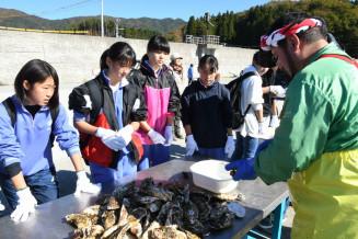 専用のナイフを使ったカキの殻のむき方を教える中村敏彦さん(右)