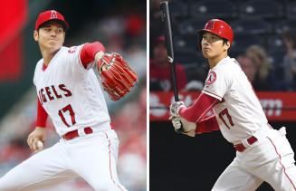 5月20日のレイズ戦に先発して4勝目を挙げ(左)、9月26日のレンジャ ーズ戦で22号本塁打を放つエンゼルスの大谷翔平選手=アナハイム(共同)