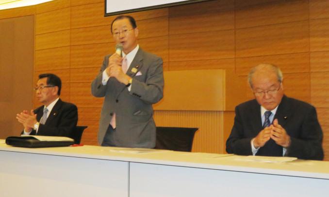 「政府に強く働き掛けていく」と語る河村建夫会長(中央)