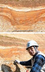 ㊤一関市舞川で発見されたアケボノゾウの足跡化石の断面、㊦アケボノゾウの化石の状態を調べる阿部恵彦さん