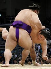 錦木(奥)がはたき込みで貴景勝に敗れる=福岡国際センター