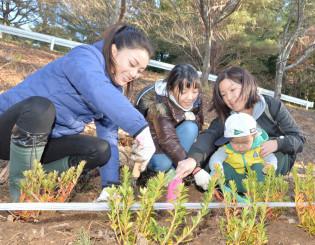 地域の復興を願いながら植樹する参加者と酒井法子さん(左)