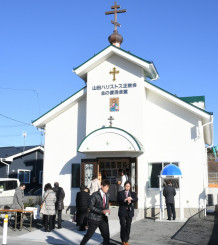 東日本大震災の焼失から再建した山田ハリストス正教会=2日、山田町八幡町