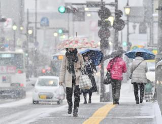 雪が舞う市街地で傘を差して歩く市民ら=6日午後3時13分、盛岡市内丸