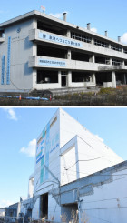 震災遺構として保存され、内部も公開される方向となった旧気仙中校舎(上)と道の駅高田松原タピック45