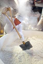 甘い香りが漂う中、湯気を上げる蒸し米にスコップを入れる蔵人=14日、紫波町片寄