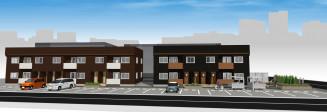 子育て世帯向け地域優良賃貸住宅「ル・サントル」の完成予想図(北日本土地提供)