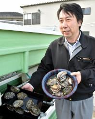 「国内外の多くの人たちに県産養殖アワビのおいしさを知ってもらいたい」と話す古川季宏社長