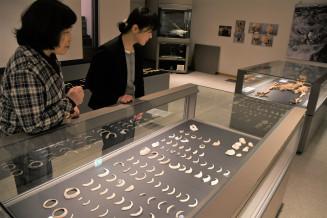 出土した貝輪や装飾品が並ぶテーマ展