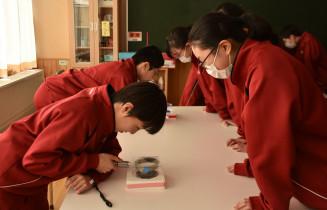 ドライアイスとアルコールを使って普段は目に見えない粒子を確認する東山中の生徒