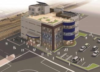 久慈駅前複合施設の完成予想図(久慈市提供)