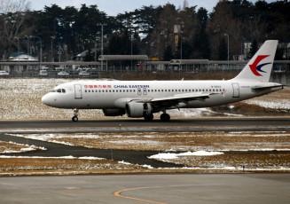 中国・上海から花巻空港に到着した国際定期便の就航第1便=30日午後2時ごろ