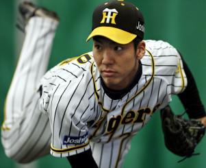ブルペンで投球練習する阪神・小野泰己=宜野座