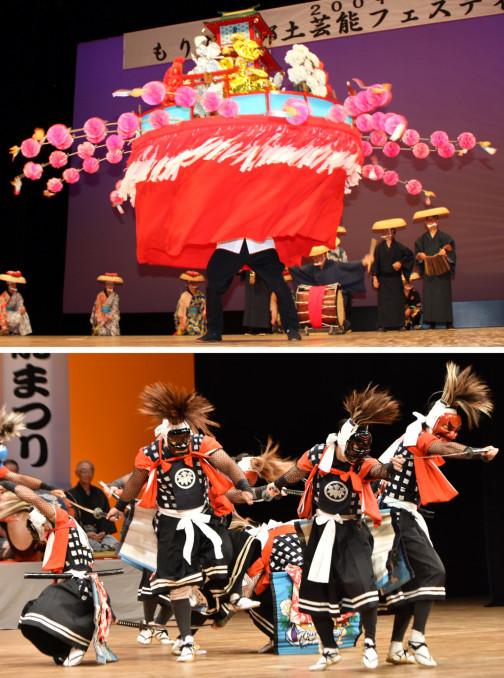 仏塔をのせた大笠での「笠振り」など風流踊りの特色を残す永井の大念仏剣舞(写真上、盛岡市教委提供)と、鬼の面を着けて力強く大地を踏み、勇壮に踊る岩崎鬼剣舞