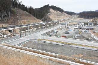 新駅「今泉駅」の設置要望箇所付近。住宅の再建が進んでいる