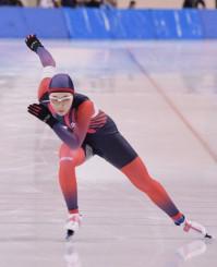女子500メートル 自己ベストの41秒00で3位に入った吉田雪乃(盛岡工)=北海道帯広市・明治北海道十勝オーバル