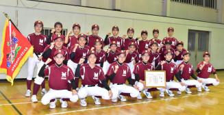 全国大会に向け気合を入れる水沢南中野球部の部員たち