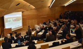 国際会議でILC計画の協議に入る各国の研究者=7日午前9時すぎ、東京都文京区・東京大