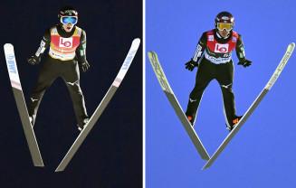 予選1位の小林潤志郎(右)と予選2位の小林陵侑の飛躍=リレハンメル(共同)