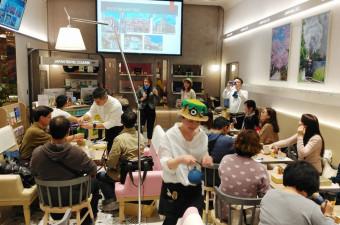 JR東日本が台北市に設けたカフェ。岩手フェアの企画など本県の魅力を伝えている=2月24日(JR盛岡支社提供)