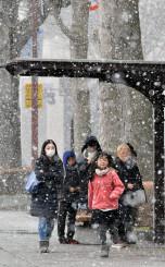 大粒の雪の中を歩く市民ら=2日、盛岡市内丸
