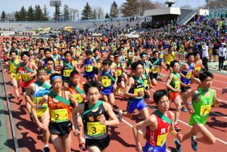 爽やかな青空の下、頂点を目指して勢いよくスタートを切る中学校男子の選手たち=21日、盛岡市・県営運動公園陸上競技場