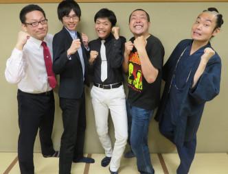 ライブへの来場を呼び掛ける(右から)お侍ちゃん、大将さん、村民代表南川さん、千葉幸平さん、晴山Bさん