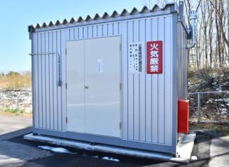第2管区海上保安本部が田野畑村の臨時防災ヘリポートに新設した燃料保管庫