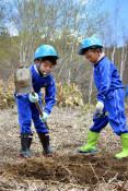 水源地保全へミズナラ植樹 遠野・綾織小の3、4年生
