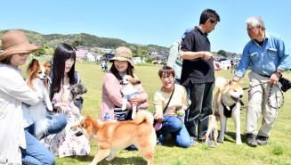 飼い犬を連れ交流する参加者