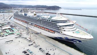 宮古港に初寄港したダイヤモンド・プリンセス。本県は大型客船の誘致を一層推進する=4月(本社小型無人機で撮影)