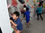 力いっぱい壁に挑む 盛岡で児童クライミング体験会