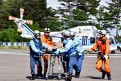 海保、ヘリでの救出訓練実施 田野畑村と協定締結記念