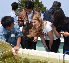 稚ウニの養殖に関する説明に熱心に耳を傾ける国内外のシェフら