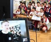 日英児童交流 世界へトライ 釜石小、ラグビーW杯開催地が縁