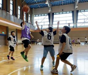 県大会出場を目指し、ゴールを狙う選手たち=二戸市・浄法寺体育館