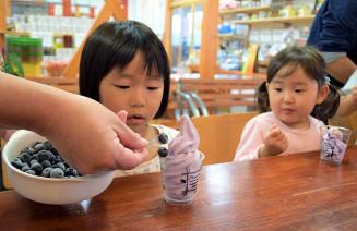 大粒のブルーベリーをのせたソフトクリームを味わう子どもたち