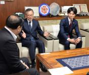 「照明設置 議論重ねて」 Jリーグ村井チェアマン 盛岡市長訪問