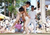 児童はつらつ、奉納相撲 八幡平市・八坂神社例大祭