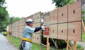 4選挙の掲示板、計17メートル 来月告示、盛岡で準備進む