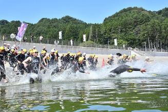 一部復活した根浜海岸の砂浜から、勢いよく海に入るスタンダードの部の選手=28日、釜石市鵜住居町