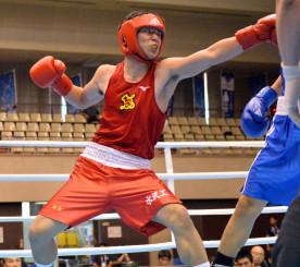 ウエルター級準決勝 3回、左ストレートで攻める和賀聖龍(水沢工)=宮崎市総合体育館