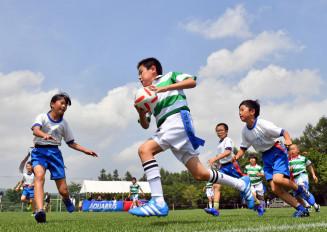 暑さに負けず全力でプレーする子どもら