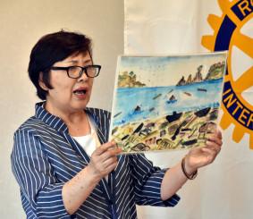 母・田畑ヨシさんから受け継いだ紙芝居を読み聞かせ、津波の教訓を伝える高橋恵美子さん