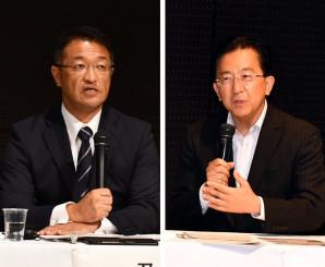 重点政策について意見を交わす(右から)達増拓也氏、及川敦氏
