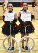 一輪車 息合わせ全国V2 遠野スポ少の千田さん、菊池さんペア