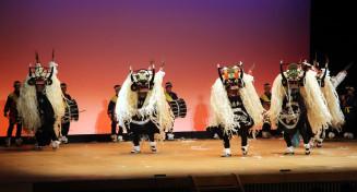 生き生きとしたしし踊りで観衆を魅了する遠野東中の生徒=22日、富山市(県中学校文化連盟提供)