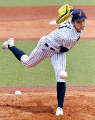 駒大野球部との練習試合に登板した高校日本代表の佐々木朗希=東京都内